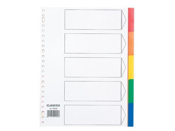 Class'ex tabbladen 5 tabs, met indexblad, 23-gaatsperforatie, PP, geassorteerde kleuren