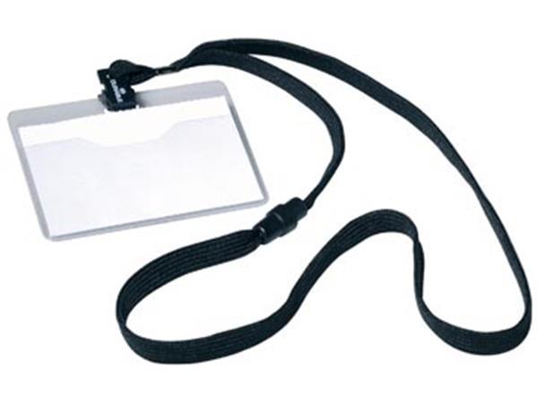 Durable badge met textielband zwart. 10 stuks