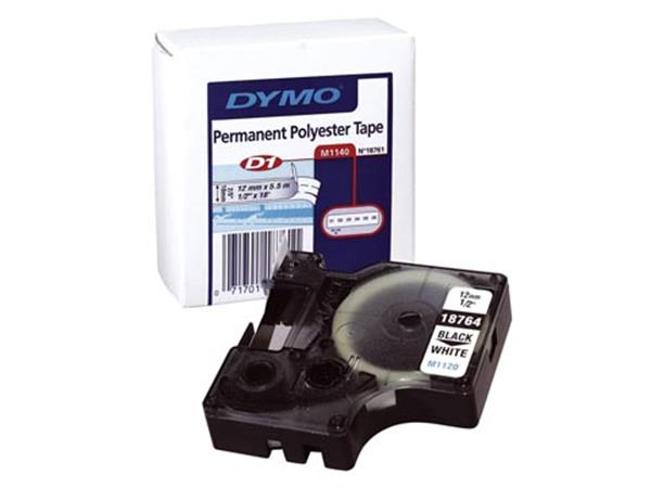 Dymo D1 permanente polyestertape 12 mm. zwart op w