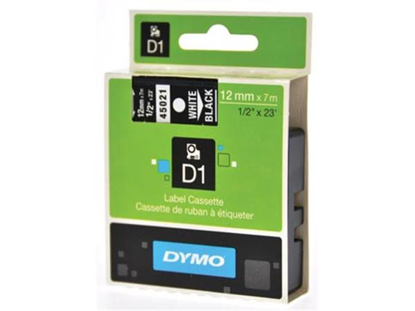 Dymo D1 tape 12 mm. wit op zwart