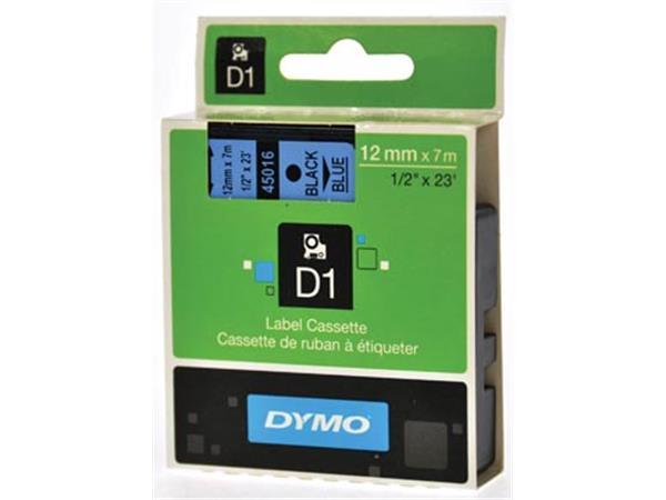 Dymo D1 tape 12 mm. zwart op blauw