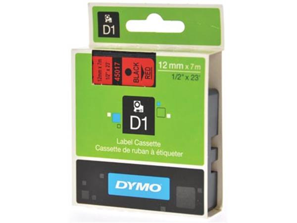 Dymo D1 tape 12 mm. zwart op rood