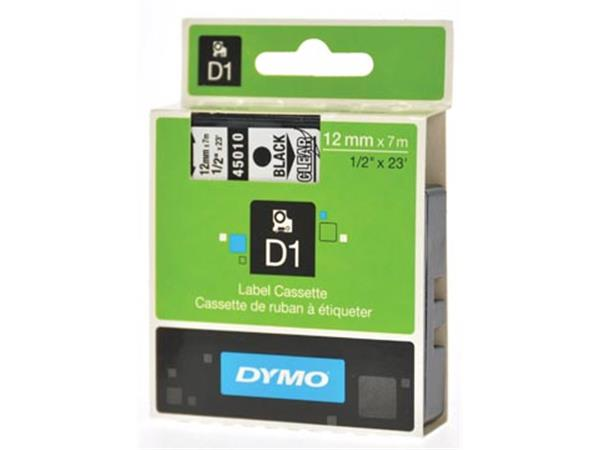 Dymo D1 tape 12 mm. zwart op transparant