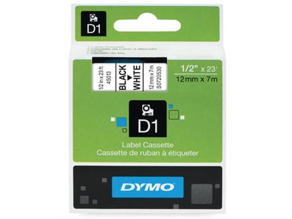 Dymo D1 tape 12 mm. zwart op wit