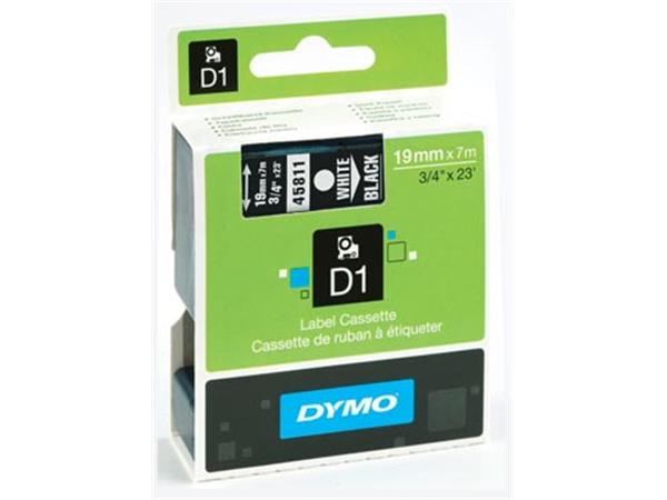 Dymo D1 tape 19 mm, wit op zwart