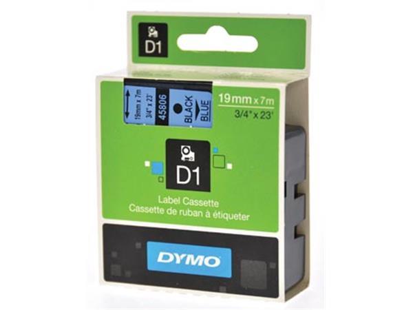 Dymo D1 tape 19 mm. zwart op blauw