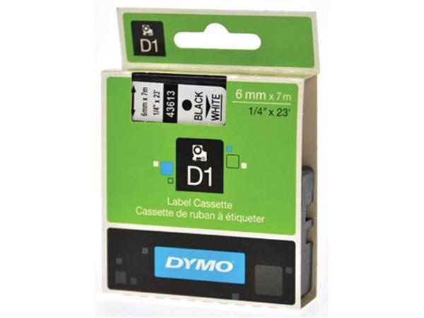 Dymo D1 tape 19 mm. zwart op wit