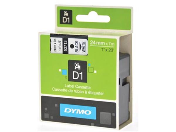 Dymo D1 tape 24 mm. zwart op wit