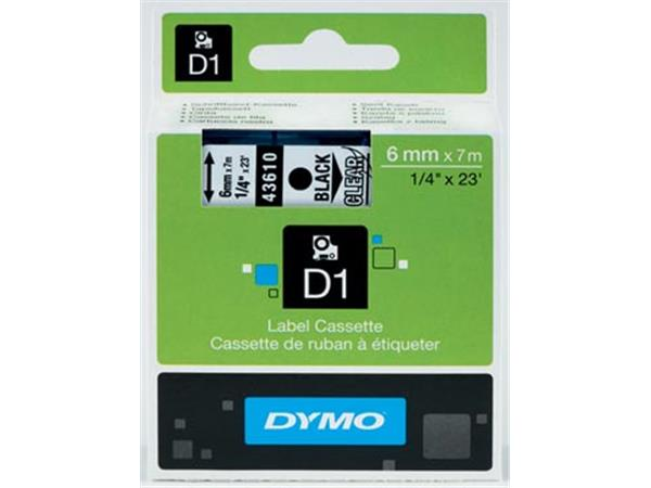 Dymo D1 tape 6 mm, zwart op transparant