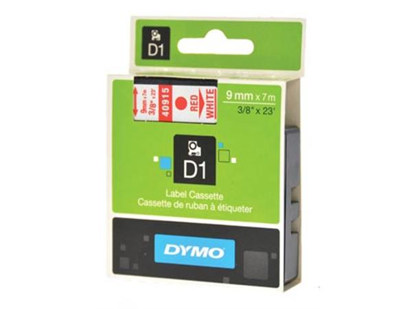Dymo D1 tape 9 mm, rood op wit