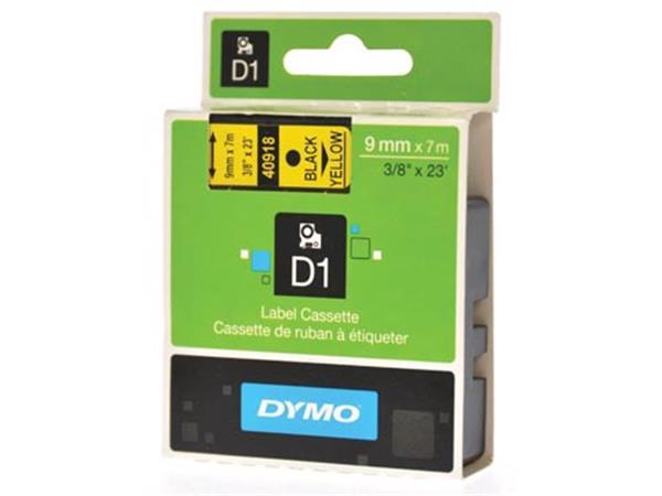 Dymo D1 tape 9 mm. zwart op geel