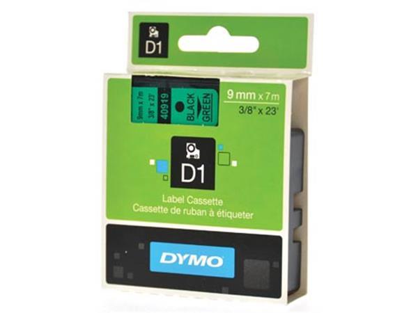 Dymo D1 tape 9 mm, zwart op groen