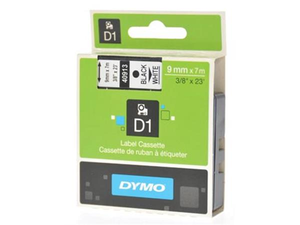 Dymo D1 tape 9 mm. zwart op wit
