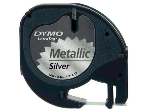 Dymo LetraTAG tape 12 mm. metallic zilver