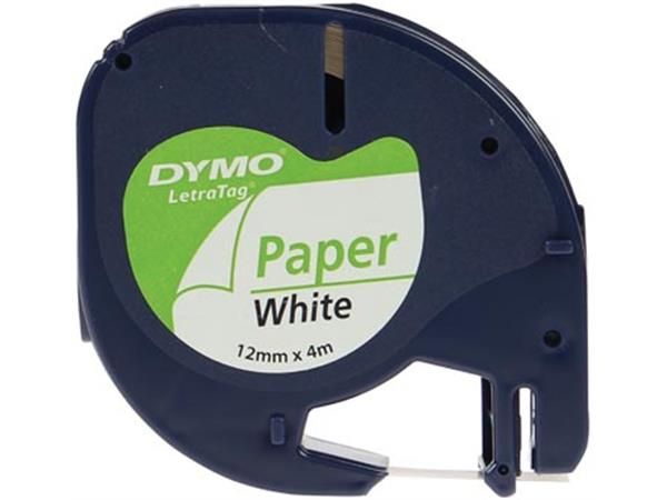 Dymo LetraTAG tape 12 mm. papier wit