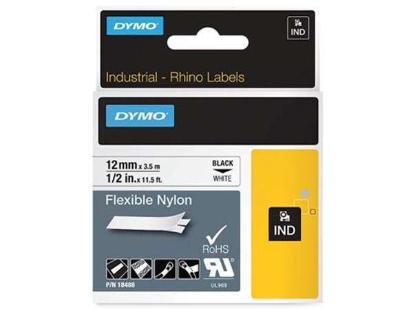 Dymo RHINO flexibele nylontape 12 mm. zwart op wit