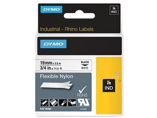 Dymo RHINO flexibele nylontape 19 mm. zwart op wit