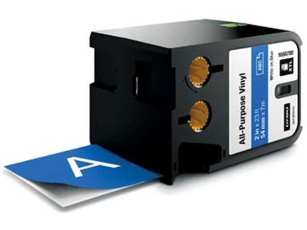 Dymo XTL tape 54 mm, wit op blauw, vinyl