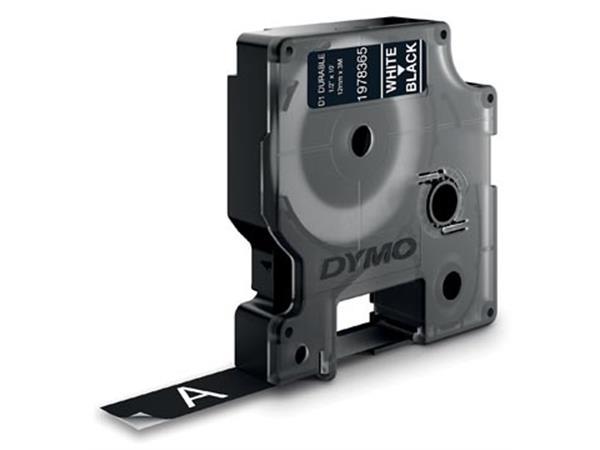 Dymo duurzame D1 tape 12 mm x 3 m, wit op zwart