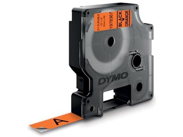 Dymo duurzame D1 tape 12 mm x 3, zwart op oranje