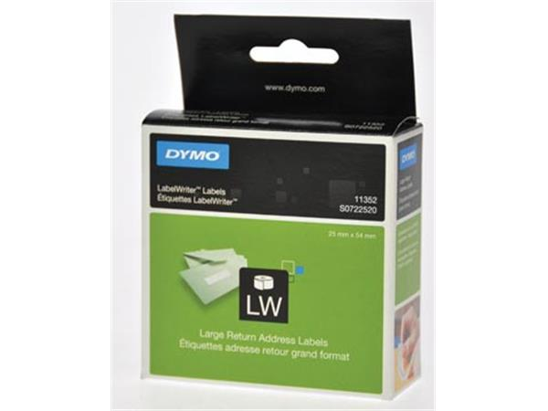 Dymo etiketten LabelWriter ft 25 x 54 mm. wit. 500