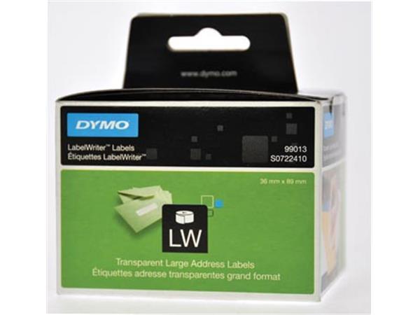 Dymo etiketten LabelWriter ft 89 x 36 mm. transpar