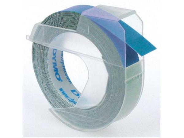 Dymo tape 9 mm voor lettertang Omega. blauw