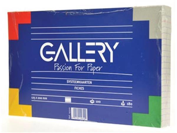 Gallery witte systeemkaarten. ft 12.5 x 20 cm. gel