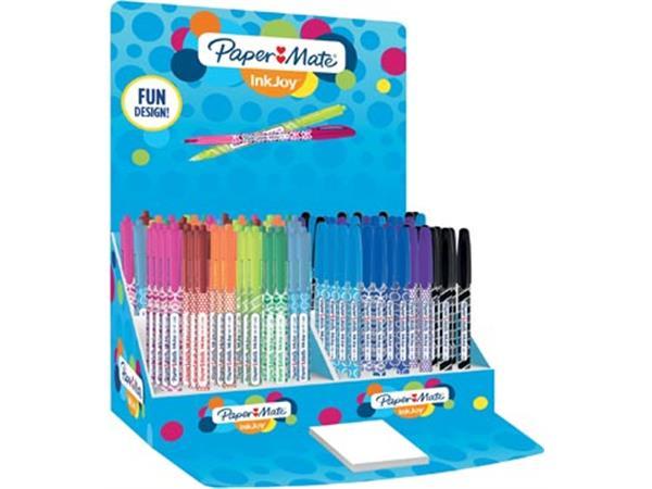 Paper Mate balpen InkJoy 100 met dop en RT, display met 150 stuks in geassorteerde kleuren