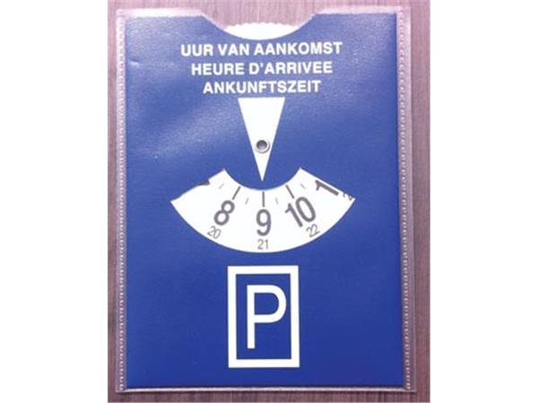 Parkeerschijf in transparante etui. blauw