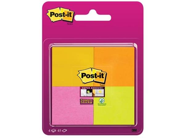 Post-It Super Sticky notes. ft 47.6 x 47.6 mm. 45