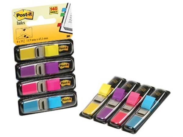 Post-it Index Smal, 4 x 35 tabs, geel, paars, roze en helderblauw
