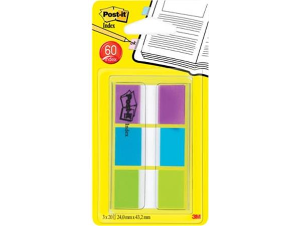 Post-it Index standaard. ft 25.4 x 43.2 mm. bliste