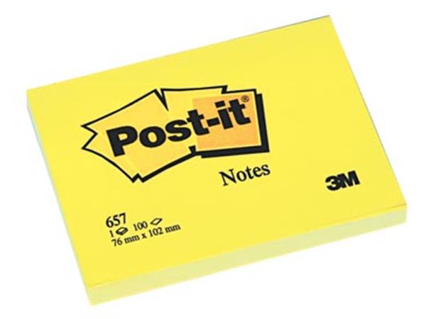 Post-it Notes. ft 76 x 102 mm. geel. blok van 100
