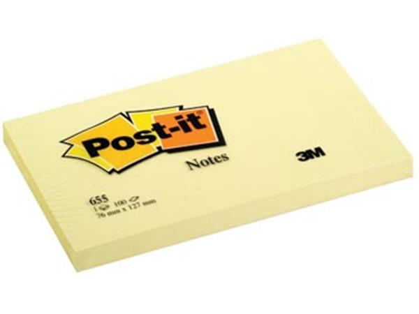 Post-it Notes. ft 76 x 127 mm. geel. blok van 100