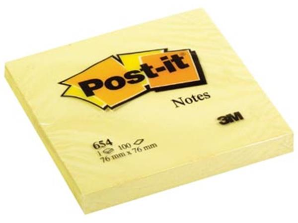Post-it Notes. ft 76 x 76 mm. geel. blok van 100 v