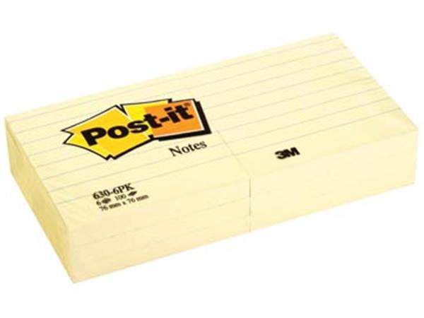 Post-it Notes. ft 76 x 76 mm. geel. gelijnd. blok