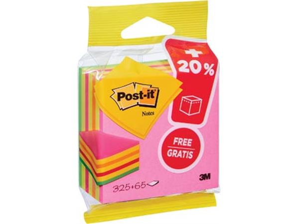 Post-it Notes kubus ft 76 mm x 76 mm, Neon, blok van 325 + 65 vel gratis, op blister