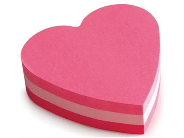 Post-it Notes mini hart. 3 kleuren. blok van 225 v