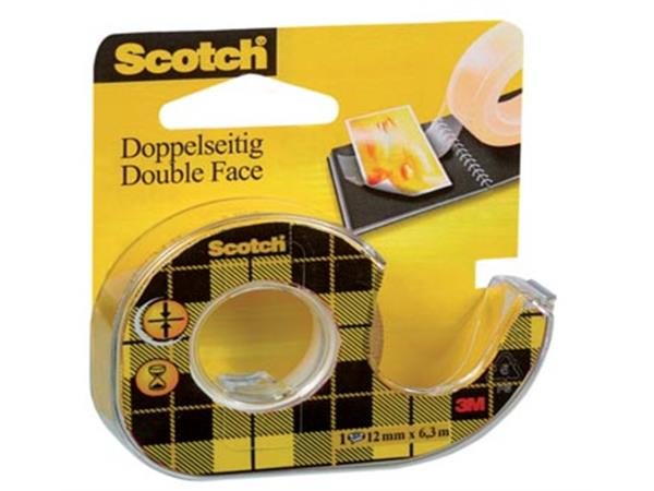 Scotch dubbelzijdige plakband ft 12 mm x 6.3 m + a
