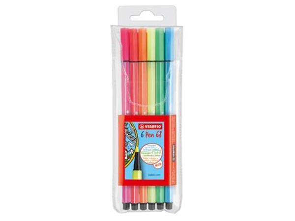 STABILO Pen 68 Neon. etui van 6 stiften in geassor
