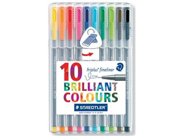 Staedtler fineliner Triplus geassorteerde kleuren, opstelbare box met 10 stuks
