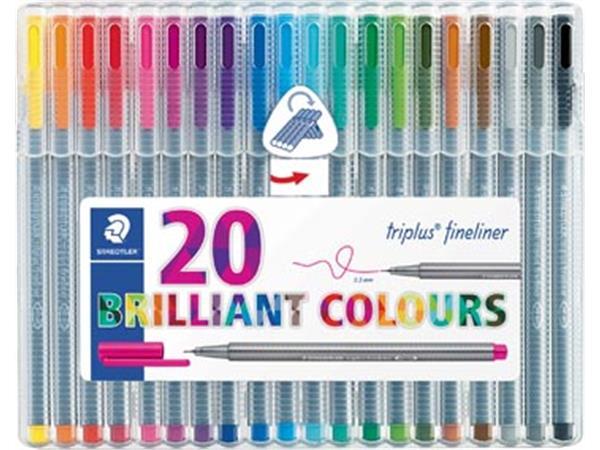 Staedtler fineliner Triplus geassorteerde kleuren, opstelbare box met 20 stuks