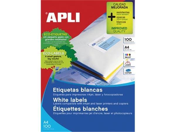 Apli witte etiketten ft 38 x 21,2 mm (b x h), 6.500 stuks, 65 per blad (1283)