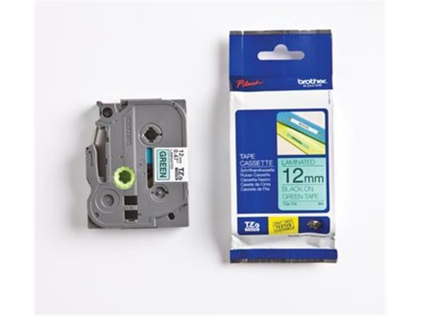 Brother TZe tape voor P-Touch 12 mm. zwart op groe