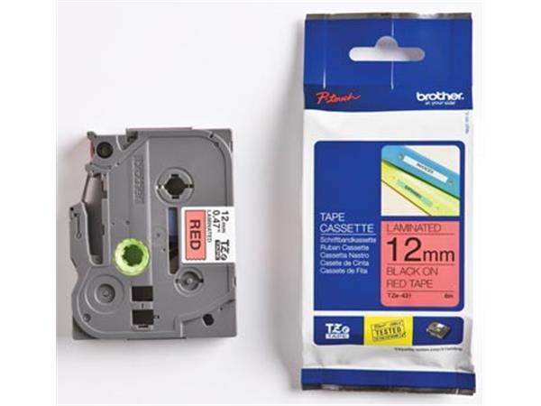 Brother TZe tape voor P-Touch 12 mm. zwart op rood