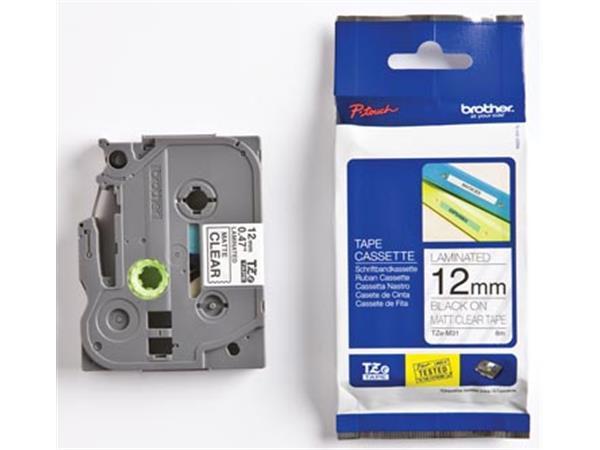 Brother TZe tape voor P-Touch 12 mm. zwart op tran