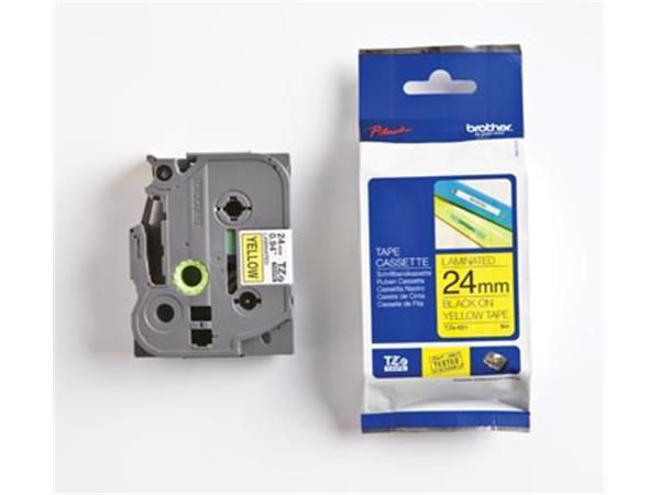Brother TZe tape voor P-Touch 24 mm. zwart op geel
