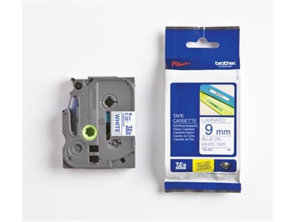 Brother TZe tape voor P-Touch 9 mm. blauw op wit