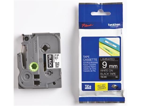 Brother TZe tape voor P-Touch 9 mm. wit op zwart